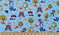 Woodland Forest Animals Bear Raccoon Fox Deer Wildlife Blue Cotton Fabric  t3/25