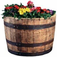 Real Wood Products HWB Half Oak Whiskey Barrel Planter