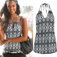 UK Women V Neck Halter Casual T-shirt Tops Backless Summer Beach Floral Blouse #1 6