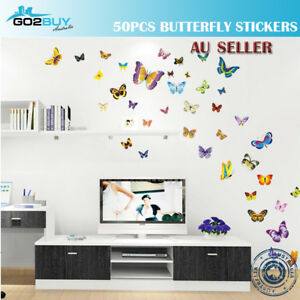 Wall Stickers Removable DIY 50pcs Butterfly Kids Mural Room Decal Romantic