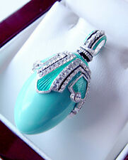 SALE ! GENUINE TURQUOISE GORGEOUS STERLING STERLING 925 RUSSIAN EGG PENDANT
