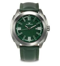 NEW Tavan 9895 Mens Jettison Green Textured Dial Silver Case Green Leather Watch