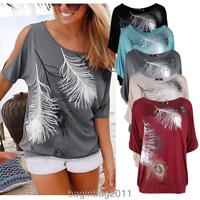 US Women Short Split Sleeve Loose Casual feather Print T-shirt Tops Blouse S-5XL