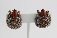 VINTAGE Jewelry FABULOUS SCHREINER DOMED RHINESTONE CLIP EARRINGS