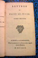 1799 PLINE LE JEUNE LETTRES LIVRE ITALIE BOOK LITTERATURE PHILOSOPHIE HISTOIRE
