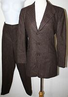 RALPH LAUREN Collection Black Label Brown Chalk Stripe Wool Pant Suit 8