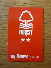 2010/2011 Nottingham Forest: Official Fixtures Card, Small Fold Out