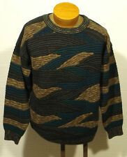 men's vintage 3-D Cosby Biggie abstract sweater MEDIUM color block