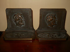 ANTIQUE SIGNED JUDD ABRAHAM LINCOLN PRESIDENT BOOKENDS GREAT CONDITION