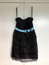 Alfred Angelo NWT Black Blue Strapless Satin Dress Tiered Tulle belted Prom 6
