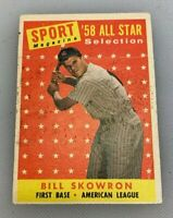 1958 Topps # 477 Bill Skowron Baseball Card New York Yankees All Star Sport