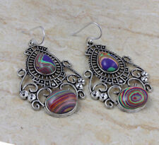 "Plated Earrings 2.28"" St-02963 Rainbow Calsilica 925 Silver"
