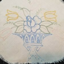 2 Hand Embroidered Floral Pieces Tulips Rose Jardiniere Blue Crafts Cutter -O