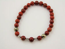 Red Poppy Jasper Men's Bracelet with Pyrite Crystal Healing Passion Prosperity