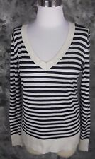 Splendid Sweater Medium Navy Blue Cream Stripe V Neck Long Sleeve