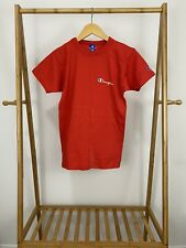 Vtg Champion Script Spellout Single Stitch Short Sleeve Red T-Shirt Size Youth L