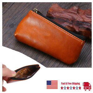 Portable Zippered Leather Pouch Bag Holder for Preserving Tobacco & Smoking Pipe