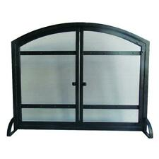 39 x 31 in. 1-Panel Fireplace Screen w/ Doors, Freestanding Steel Mesh Black