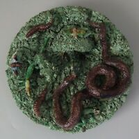 Cuhna Palissy Majolica Lizard and Snake Plate