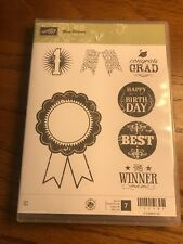 STAMPIN UP SET Blue Ribbon CLEAR MOUNT CLING STAMPS Grad Best Winner 1 Bday