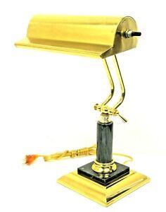 Vintage Brass & Black Marble Base Piano Bankers Desk Lamp Adjustable Arm Lamp