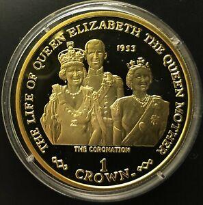 Gibraltar Silver Coin with Gilt 1 Crown 2001 Coronation