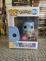New Funko POP Games Pokemon Flocked Squirtle #504 GameStop Exclusive + Protector