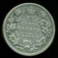 1903 Canada 25 Cent Piece, King Edward VII   P160