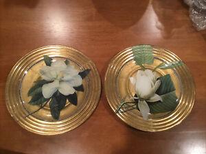 """2 Scott Potter 8-1/4"""" Gorgeous Floral Decoupage Signed Plates - Salad, Dessert"""