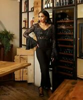 Virgos Lounge Black Lace Embellished JOJO Bell Jumpsuit Party Dress 12 14 16 New