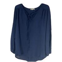 Pleione Women's Size L Slits Long Sleeve Cold Shoulder Blouse Top Blue