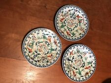 "Antique Set Of 3 Chinese 8"" Imari Or Satsum Style  porcelain plates Ex Cond."