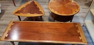 Lane Acclaim Tables Mid Century Modern Dovetail Triangle Round Coffee MCM