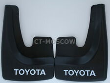 set of 2 universal mud flaps in black color with white text fit for Toyota