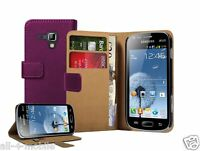 PURPLE WALLET Leather flip pouch case cover for Samsung Galaxy S Duos GT-S7562