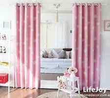 80% Blockout Eyelet Curtains Kids Boys Girls Pink Bedroom 2 x 140cm x 230cm Pack