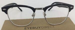Eyebuydirect Coexist 49-19-143 C1 Browline Black Rx Eyeglasses FRAMES ONLY A86