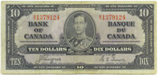 Bank of Canada 1937 $10 Ten Dollars Note King George VI Coyne-Towers F/VF