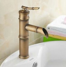 Antique Brass Bamboo Style Single Handle Bathroom Basin Tap Faucet enf218