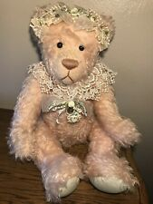 """Rare Victorian 20"""" Jointed Pink Bear Essentials Inc Mohair Plush Lace Bow Decor"""