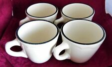 FOUR SYRACUSE CHINA Restaurant Coffee Cups w Scalloped Edge Black Trim USA