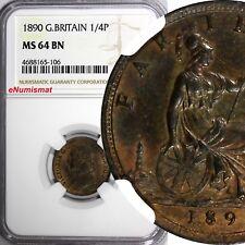 Great Britain Victoria Bronze 1890 Farthing NGC MS64 BN NICE TONING  KM# 753