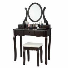 Vanity Set Makeup Dressing Table W/Mirror Drawers & Removable Storage Box Brown