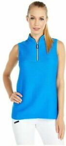 Jamie Sadock Accordion Textured Sleeveless Blue Top 87710 Size Medium