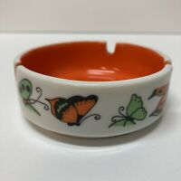 Vintage Japan Butterfly Ashtray Green Orange Center 3 Cigarette Rests Round 3.5""