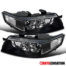 For 2004-2005 Acura TSX Black Projector Headlights Lamps Pair Left+Right