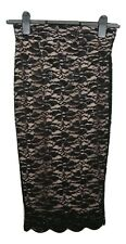 JANE NORMAN Skirt Size 8 Pink w/Black Lace NEW w/TAG Evening Wedding Party *