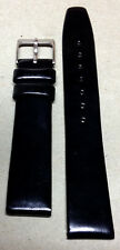 NEW 18MM SHINY BLACK DRESS BAND - SILVER BUCKLE!