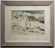 1958 Richard Morin Signed Painting Winter Landscape American Watercolor Society