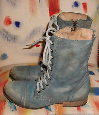 Steve Madden Troopa Slate Blue Leather Lace Up Work Boots 8.5M